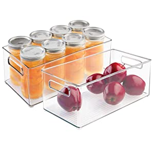 "mDesign Deep Plastic Kitchen Storage Organizer Container Bin with Handles for Pantry, Cabinets, Shelves, Refrigerator, Freezer - BPA Free - 14.5"" Long, 2 Pack - Clear"