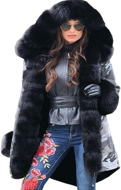 TALLA 36. Roiii - Abrigo largo con capucha para mujer, diseño de camuflaje, color gris