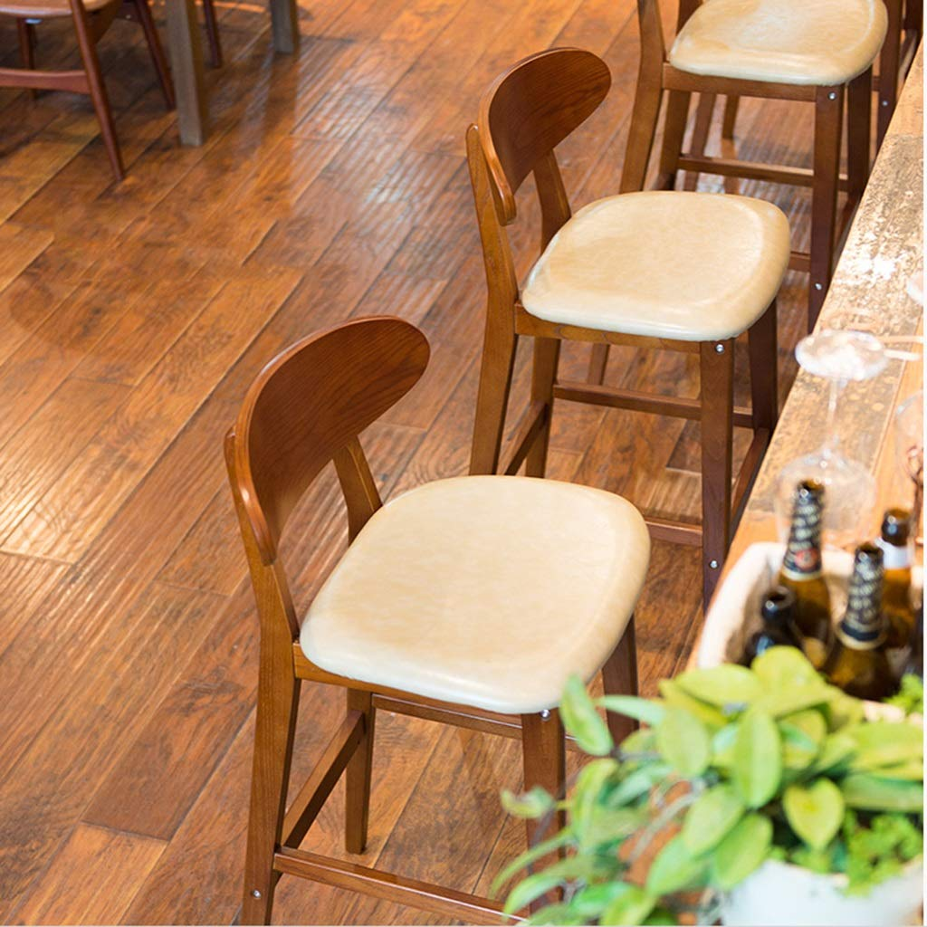 Amazon.com: bar Stool Wooden Bar Chair Creative Breakfast Bar Stools Kitchen Counter High Chair Nordic Bar Chair Modern Minimalist Stool High Stool with ...