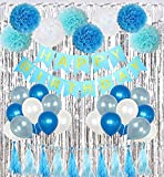 How to Make a Shower Curtain Birthday Party Decorations Kit Boy Supplies with Banner, Balloons, Pom Poms Flowers, Foil Fringe Curtain, Paper Tassels in Blue