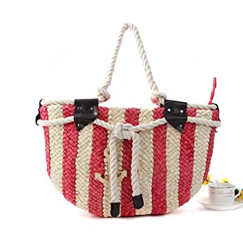 93cd34c46eef qiulv Shoulder Stripes Straw Bag Woven Color Women Cotton Thread Knitting  Leisure Travel Summer Beach Tote
