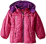 Pink Platinum Little Girls'heavyweight Jacket In Animal Print, Pink Glow