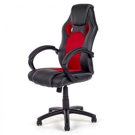 MY SIT Silla de Oficina Silla de Escritorio Gaming Racing Recubrimiento de PU diseño Negro/