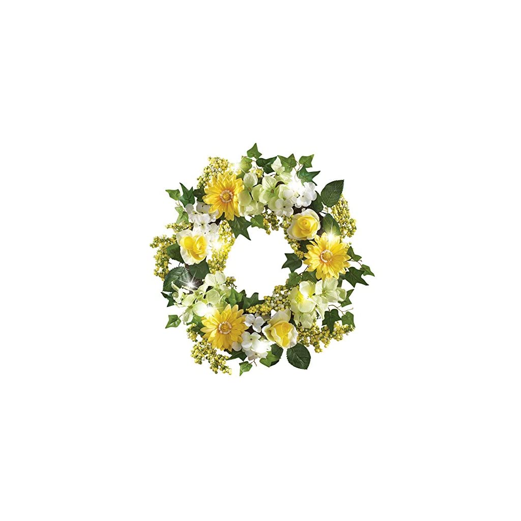 Collections-Etc-Spring-Floral-Mix-Pre-Light-17-Door-Wreath-Green