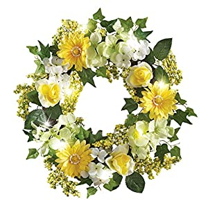 "Collections Etc Spring Floral Mix Pre-Light 17"" Door Wreath, Green 1"