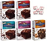 Ghirardelli Premium Chocolate Brownie Mix Variety - Bundle of 5 Flavors - Triple Fudge, Caramel Turtle, Double Chocolate, Chocolate Supreme, Dark Chocolate Gift Box