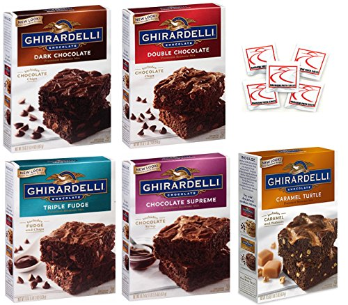 - Ghirardelli Premium Chocolate Brownie Mix Variety - Bundle of 5 Flavors - Triple Fudge, Caramel Turtle, Double Chocolate, Chocolate Supreme, Dark Chocolate Gift Box