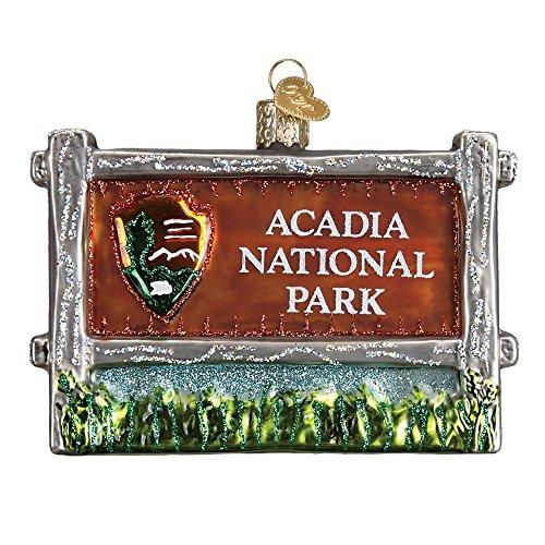 (Acadia National Park Sign Glitter Glass Christmas Ornament)