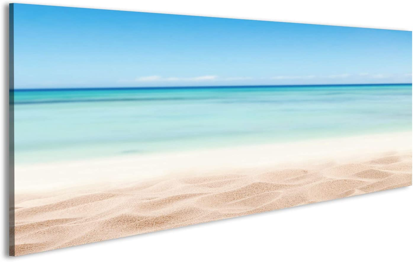islandburner Cuadro Cuadros Playa de Arena vacío con el mar. Espacio Libre para el Texto o la colocación de Productos Impresión sobre Lienzo - Formato Grande - Cuadros Modernos ERV