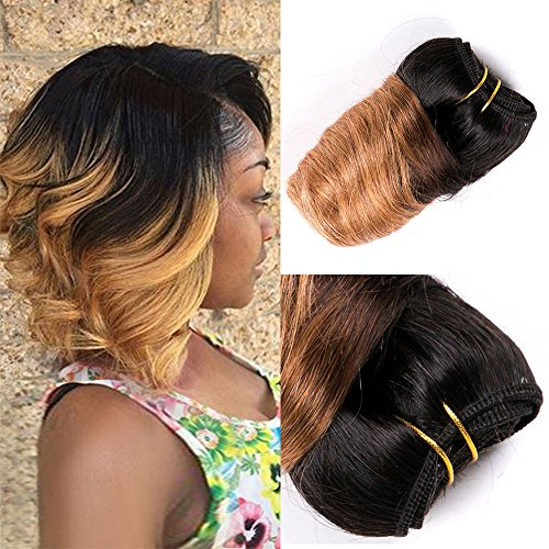 - Barroko Ombre Peruvian Virgin Hair Loose Wave Balck To Blond 8 Inch Wet And Wavy Human Hair Short Bob Weave Spring Curly Wave 4 Bundle 200g Intall