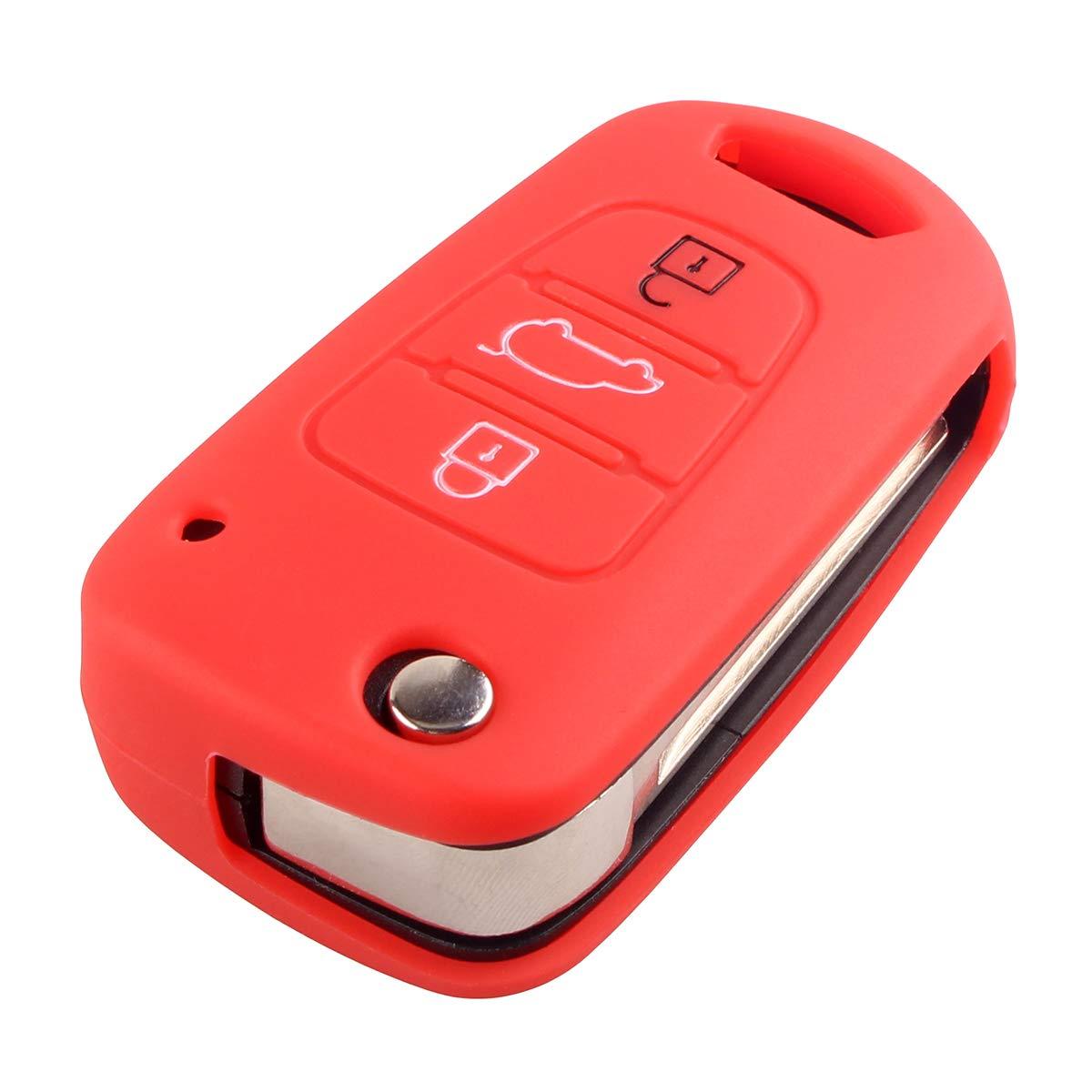 da attaccare al taschino per Hyundai i20 i30 IX20 IX35 Elantra Accent Chiave a 3 tasti-Flip Cover custodia protettiva in Silicone
