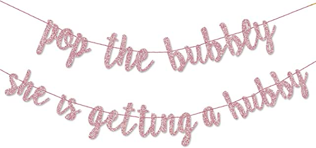 PartyForever Rose Gold Bachelorette Party Decorations Banner (Pre-Strung) Pop The Bubbly She is Getting a Hubby - Hen Party Decorations Banner Sign for Bridal Shower and Bridal Party Supplies