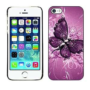 Caucho caso de Shell duro de la cubierta de accesorios de protección BY RAYDREAMMM - Apple iPhone 5 / 5S - Butterfly Painting Purple Floral Pattern