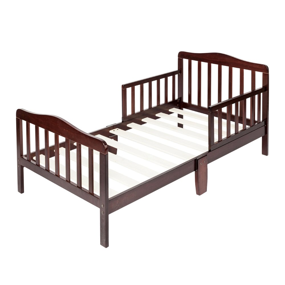 Bonnlo Contemporary Wooden Toddler Bed Sturdy Bedframe with Guard Rail Bedroom Furniture for Kids Children – Cherry
