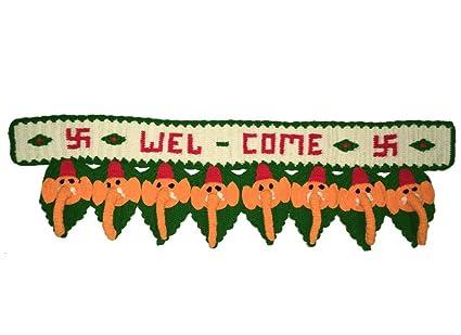 Buy CraftedIndia Welcome Design Woolen Knit Toran Online at