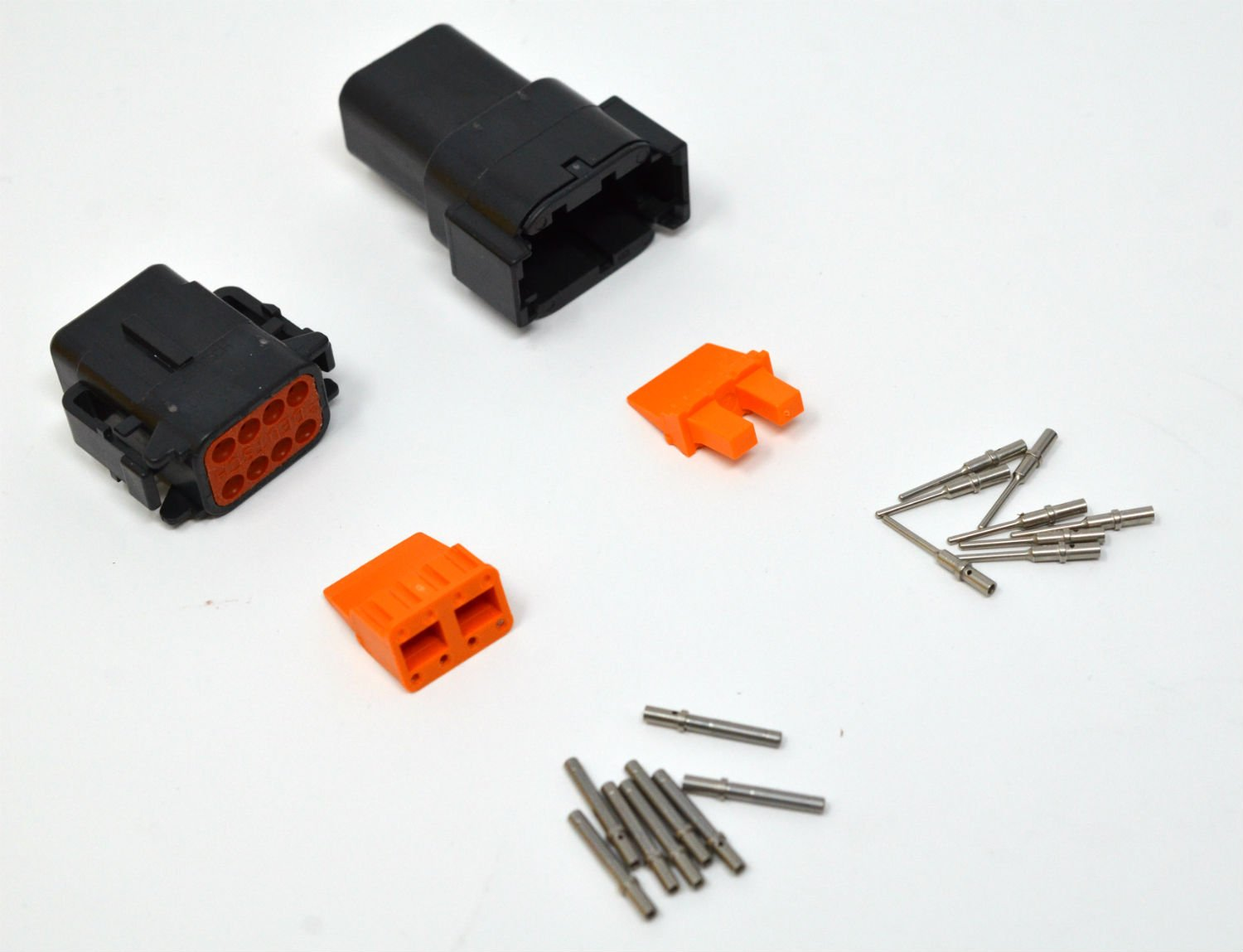 Deutsch DTM Black 8-pin Connector Kit 20AWG Solid Contacts