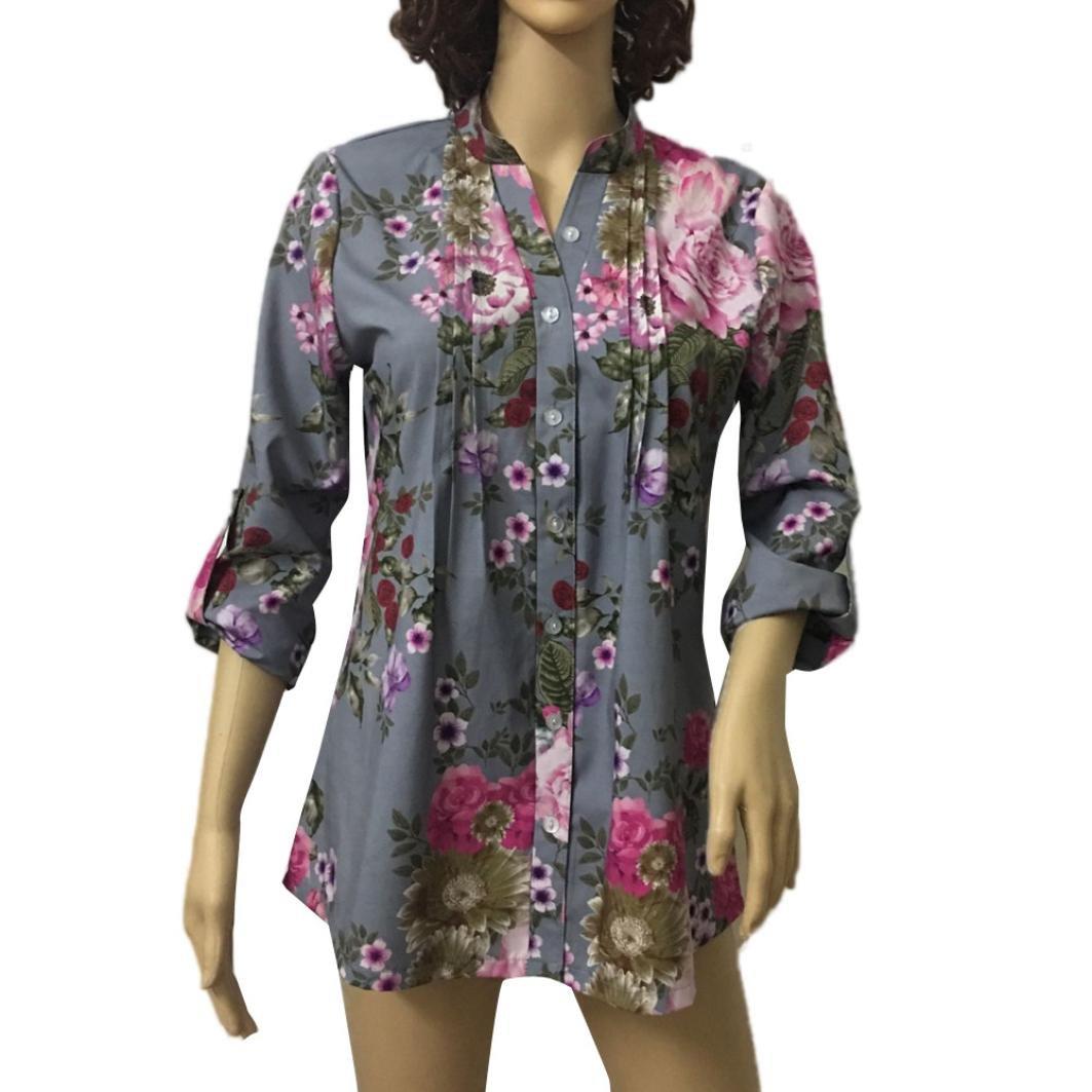 LuckyGirls ❤ ❤ Mujer Camisetas Manga Larga Flor Pintura Cuello en V Sexy Suelto Tops Blusa Sudaderas Camisas Talla Grande (S~6XL): Amazon.es: Ropa y ...