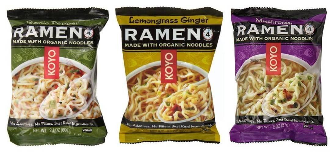 Koyo Vegan Organic Noodle Ramen 3 Flavor 9 Bag Variety Bundle: (3) Garlic Pepper, (3) Lemongrass Ginger, and (3) Mushroom, 2-2.1 Oz Ea (9 Tot) by Koyo