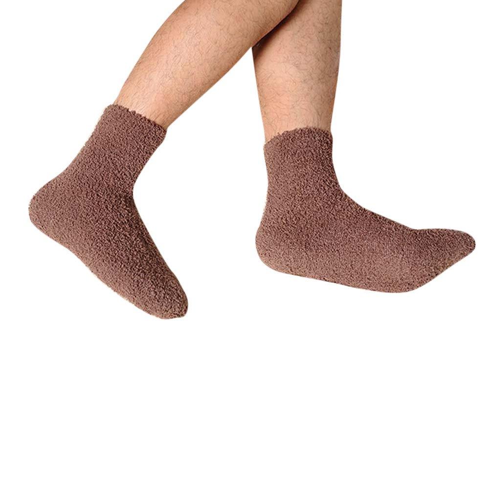 Mens Thick Warm Coral Fleece Slipper Non-slip Cotton Socks