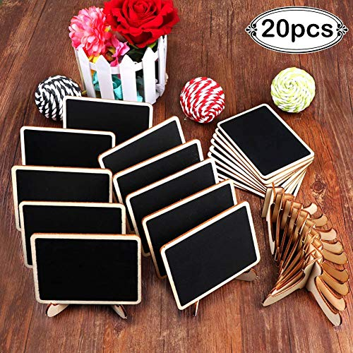 AerWo 20 Pack Wooden Mini Chalkboards Signs with Easel Stand, Small Rectangle Blackboard for Wedding Table Numbers, Food Signs, Place Cards, Parties and Special Event Decorations