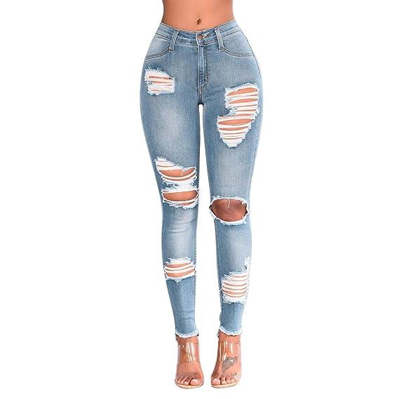 GoodLock Women Fashion High Waist Jeans Ladies Casual Denim ...