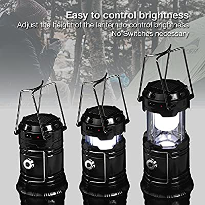PARTYSAVING [4-Pack] Camping Hiking 2-in-1 Solar Rechargeable LED Lantern with Dual Power Supply and Built-in Emergency Power Bank, APL1426