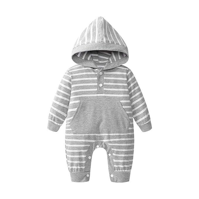 QinMM Mono con Capucha a Rayas del bebé Infantil niño y niña Peleles Body Romper Mameluco de algodón: Amazon.es: Ropa y accesorios