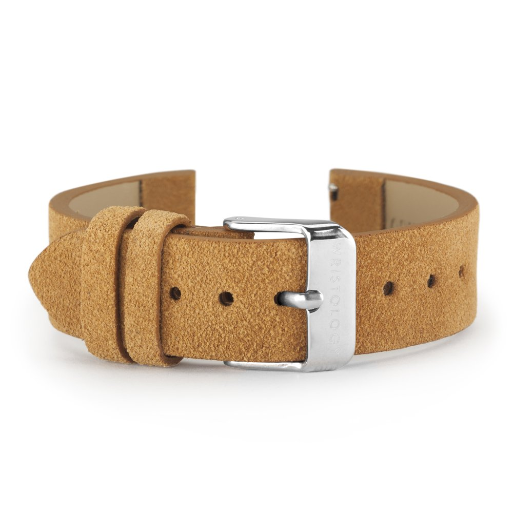 WRISTOLOGY Silver 18mm Womens Easy Interchangeable Watch Band (Camel Suede)