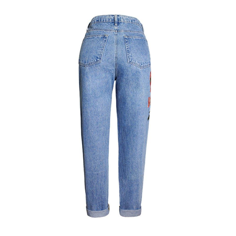 Geurzc Embroidered Flowers High Waist Straight Fit Boyfriend Jeans for Women