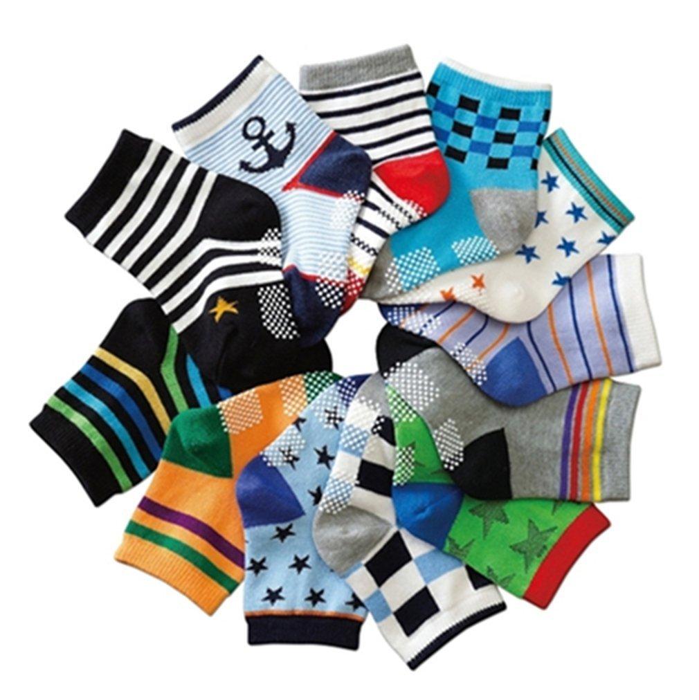 Z-Chen 12 Pack of Baby Boys Cotton Non-skid Socks Anti Slip