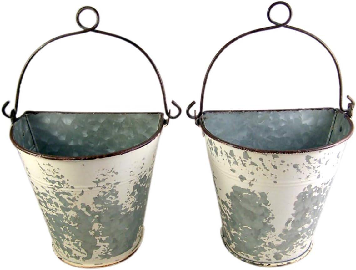 Primitive Galvanized Half Round Bucket Wall Planters, 6 3/4 Inches