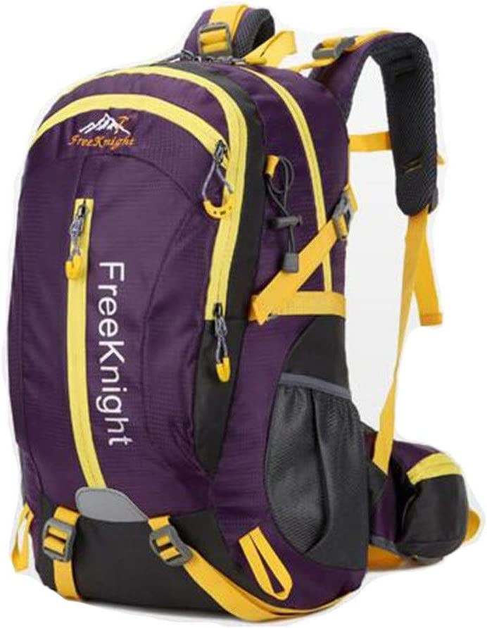 Backpack Color : Purple Waterproof and Breathable Leisure Travel Sports Bag -40L Large-Capacity Outdoor Mountaineering Bag