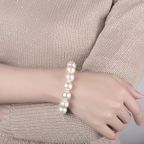 Caperci 13mm Stretch Simulated Pearl Bracelet f...