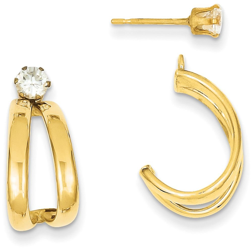 14k Gold Polished Double J-Hoop Jackets with CZ Stud Earrings (0.67'' Height) - Yellow-Gold