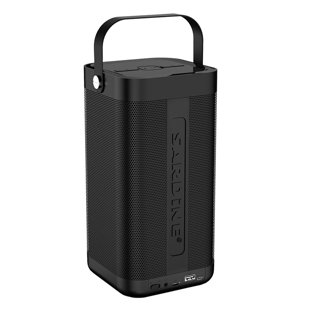SARDiNE Outdoor Bluetooth Speaker, 16W Output from Dual 8W Drivers, Two Passive Subwoofers, Built-in Mic 5200mah Battery, Perfect for Karaoke, iPhone, iPad, Samsung GALAXY Series(Black,with Mic)