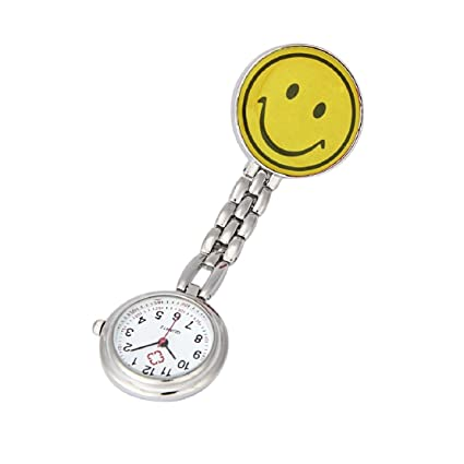 Lookatool Nurse Clip-on Fob Brooch Pendant Hanging Smile Face Watch Pocket Watch (Yellow
