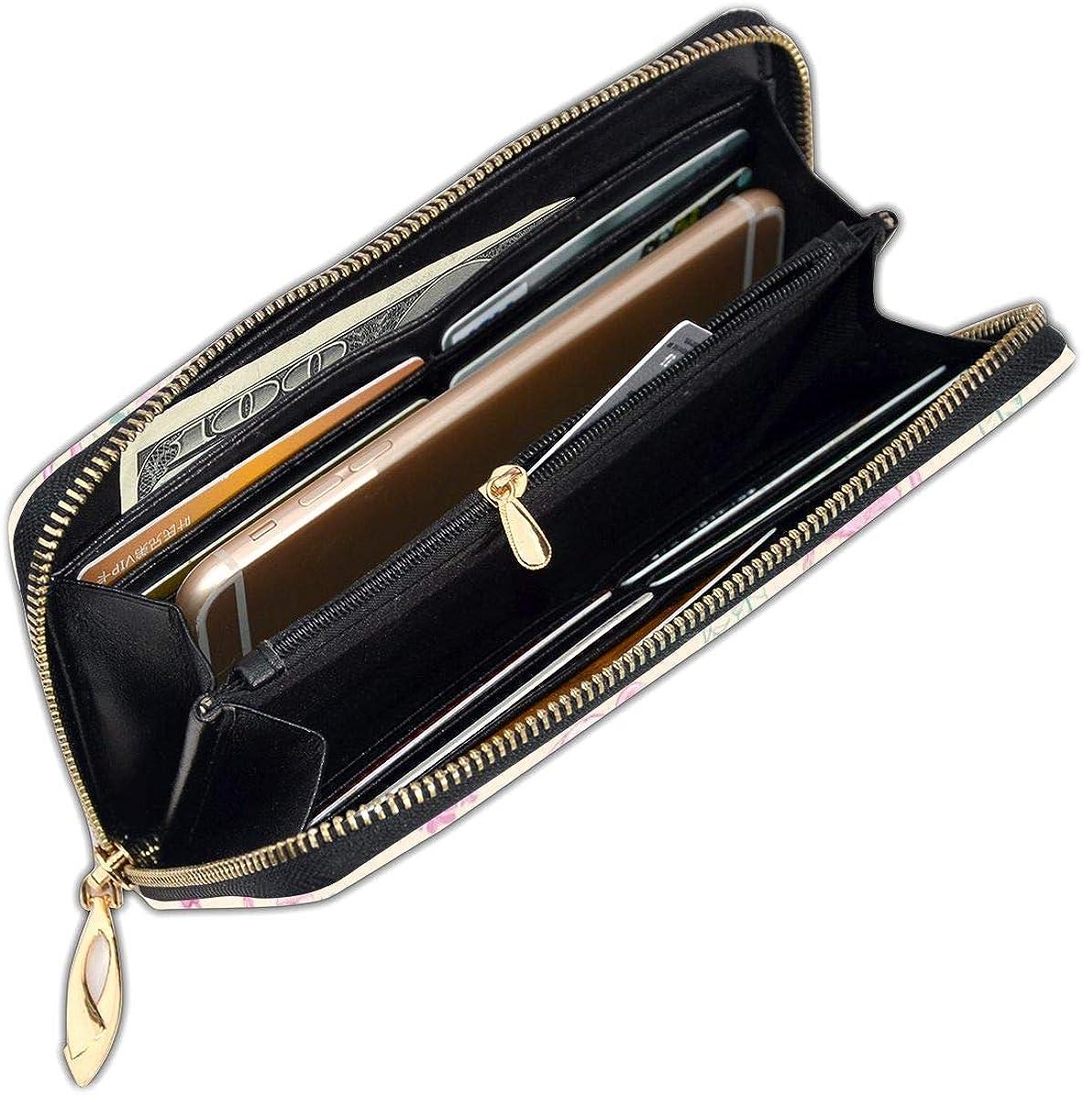 Pink Flamingo Women Leather Zipper Wallet Interior Pocket