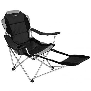 be56eef2c19 Sportline - Xl Quad-Fold Chair W/ Footrest - Black Black: Amazon.co ...