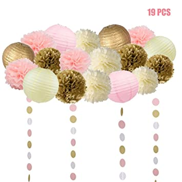 Amazon 19 pcs pink and gold tissue paper flowers pom poms 19 pcs pink and gold tissue paper flowers pom poms lanterns and garland for baby shower mightylinksfo