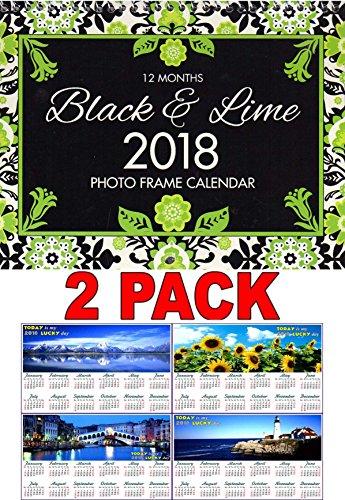 Pelican Wall (Black & Lime - 2018 Photo Frame Wall Spiral-bound Calendar (Add Your Own Photos)) + Free Bonus 2018 Magnetic Calendar - (Bundle - 2 Items))