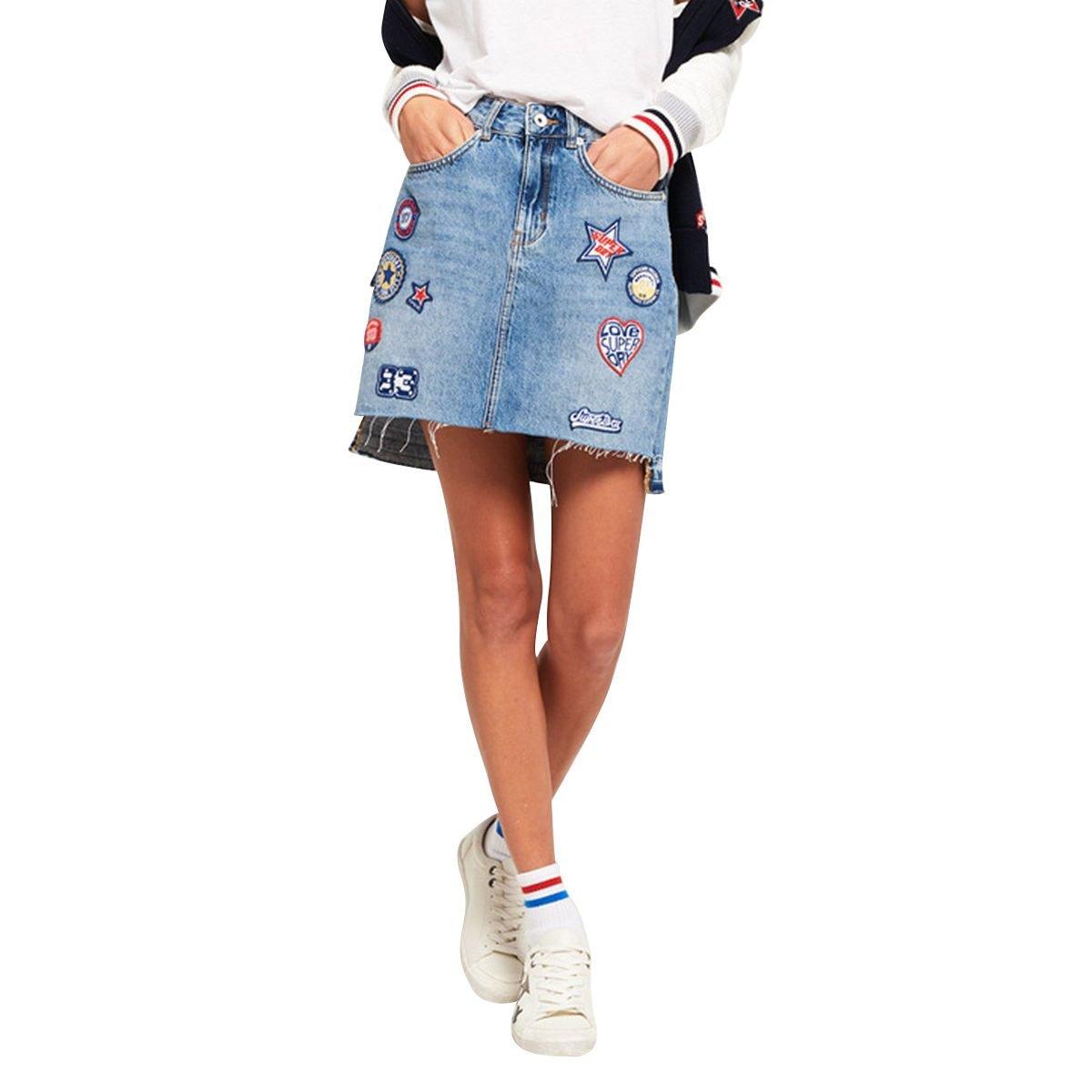 Superdry Denim Mini Skirt G72001KQ Azul: Amazon.es: Ropa y accesorios