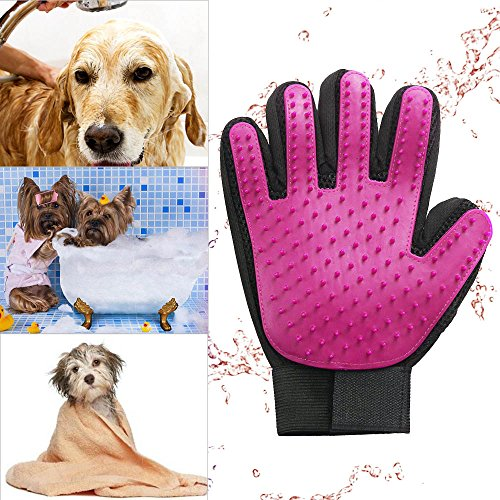 Zlimio Pet Dog Grooming Cleaning Glove Deshedding Right Handed Hair Removal Massage Brush, Perfect for Dogs & Cats with Long & Short Fur,Rose