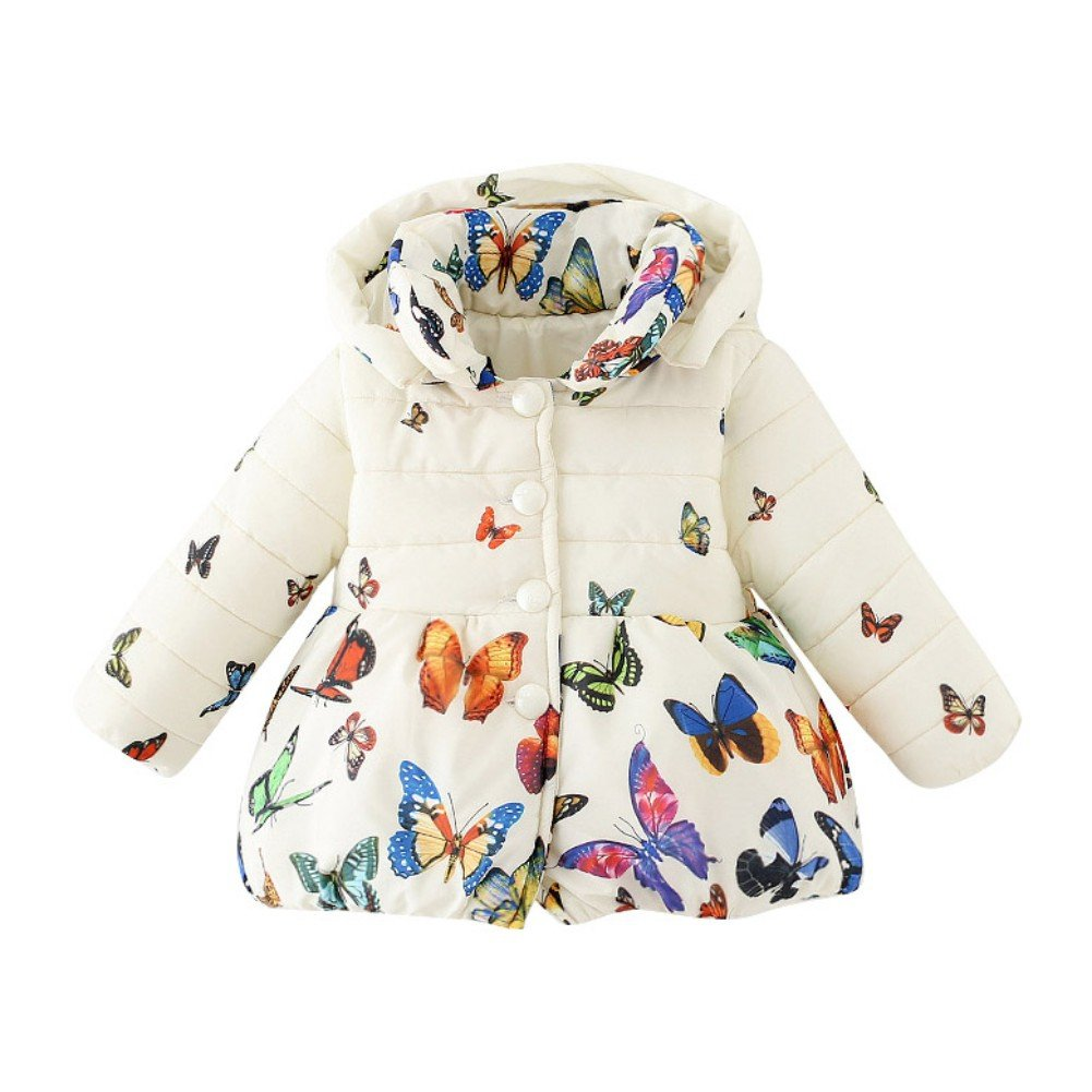 Forart Baby Girls Winter Warm Coat Butterfly Pattern Hoodie Down Jacket Outwear