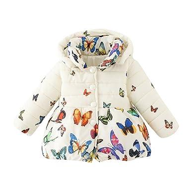 9e770c7ac4eae BOBORA Manteau Hiver Enfant Bébé Fille Papillon Imprimé Coton Manteau Parka  Down (0-6