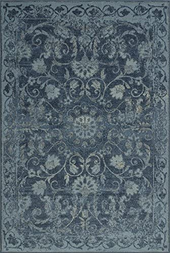 Super Area Rugs Blue Rug Traditional, 8-Foot 2-Inch X 10-Foot Soft Medallion Border Rustic Distressed Vintage Antique