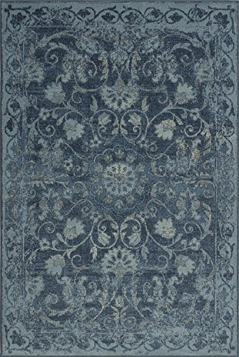 Super Area Rugs Blue Rug Traditional, 3-Foot 3-Inch X 5-Foot 1-Inch Soft Medallion Border Rustic Distressed Vintage Antique For Sale