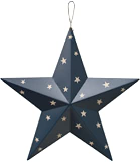 YK Decor American Holiday Wall Decor Wall Barn Metal 3D Stars (Blue)