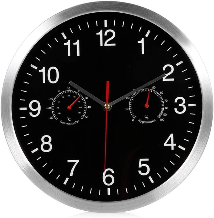 Anytumep HLZS-3 en 1 Reloj de Pared de Cuarzo silencioso Movimiento de Barrido silencioso Termómetro Higrómetro Sin tictac Decoración de Arte para el hogar Reloj de Pared-Negro