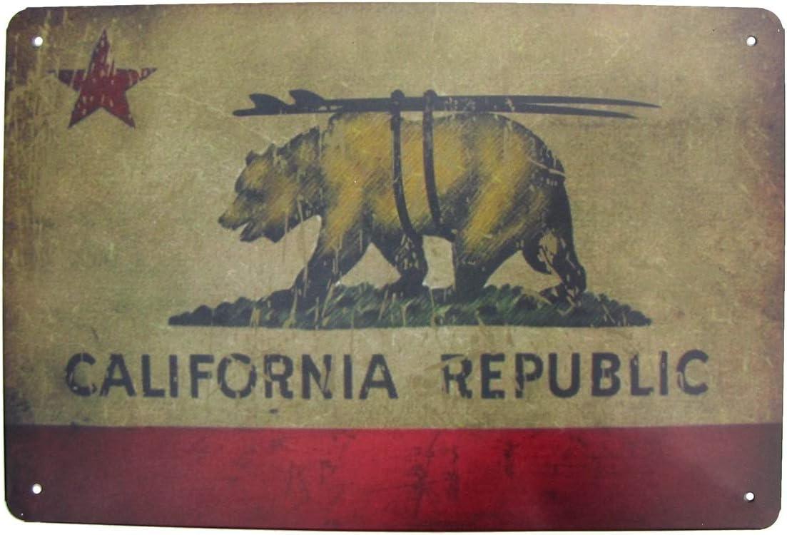 Treasure Gurus Metal California Republic Surfboard Bear State Flag Wall Art Sign CA Tin Bar Pub Man Cave Beach Home Decor