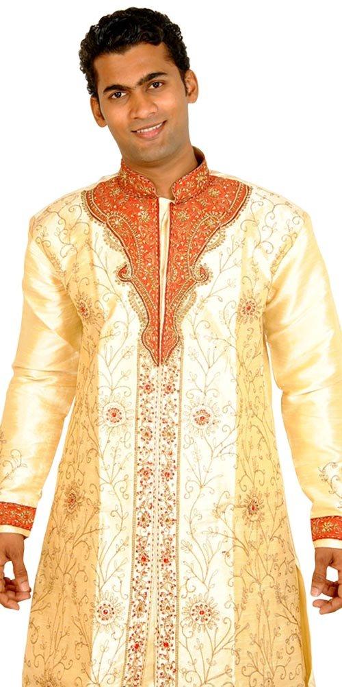 Apparelsonline Men's Sherwani Suit Large Gold
